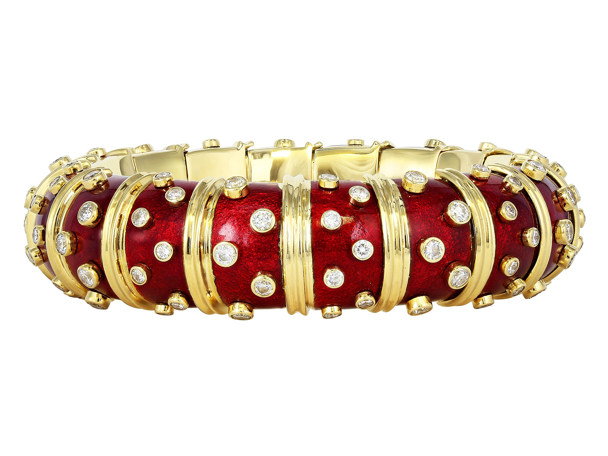 0c42707a7 Tiffany & Company Schlumberger Red Paillonne Diamond Bangle – David ...