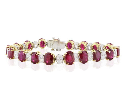 32.50 carats Burma Ruby and Diamond tennis Bracelet.