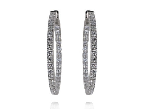 2.03ct Round Brilliant Cut Diamond Hoop Earrings