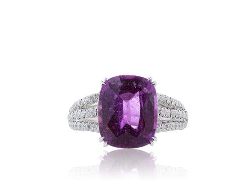 7.02ct. Unheated Pink Sapphire and Diamond Ring Certified