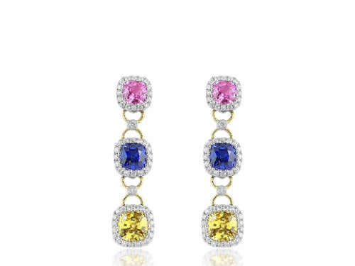 Multi Color Sapphire & Diamond Drop Earrings
