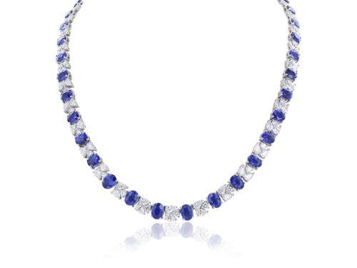 26.92ct  Oval Sapphire and Diamond Necklace