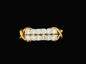 18kt .75ct Double Row Diamond Band