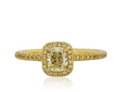 .53 Cushion Cut Fancy Yellow Ring