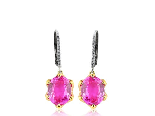 8.02ct Pink Sapphire & Diamond Earrings