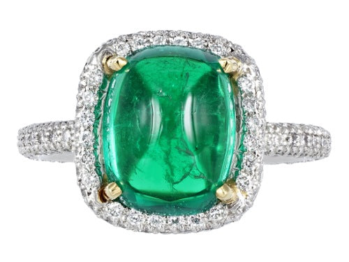 4.01ct Cabochon Emerald & Diamond Ring