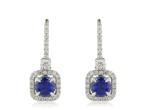 18 karat white gold Diamond and Sapphire Drop Earrings