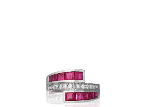 18kt Ruby & Diamond Vintage Style Bypass Ring