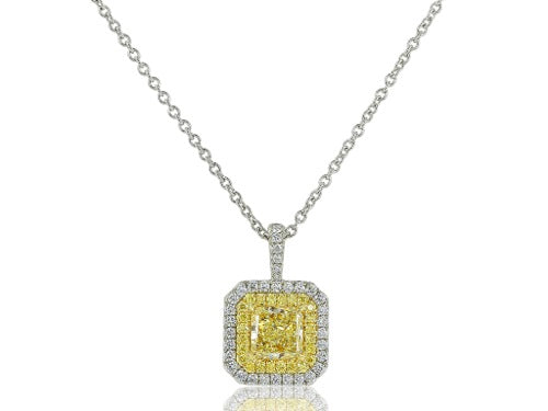 1.41ct Radiant Cut Canary Diamond Pendant