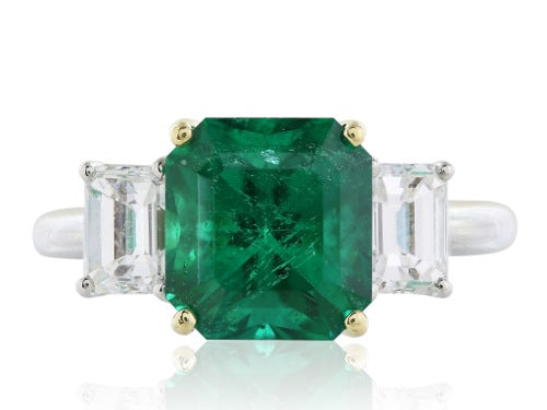 3.31 Carat  Emerald Diamond 2@1.20 Three Stone Ring