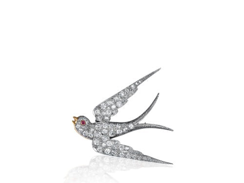 Vintage Diamond Swallow Pin