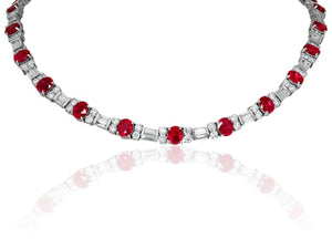 16.92ct Burma Ruby & Diamond Necklace