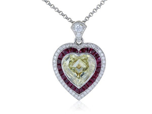 Plat/18 kt Canary HS Diamond 3.00 ct and ruby pendant