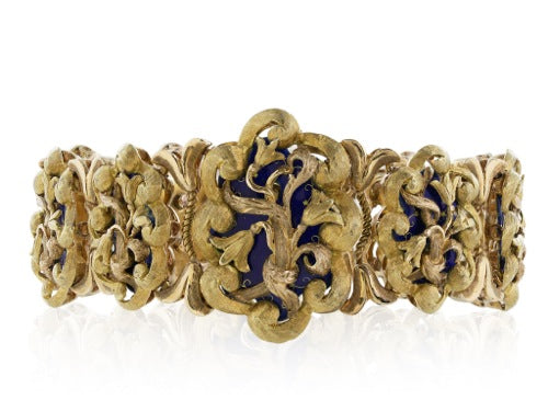 Estate 18 Karat Two-Tone and Enamel Bracelet