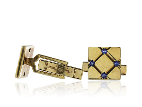 14 kt yellow gold sapphire cuff links signed Tiffany Co