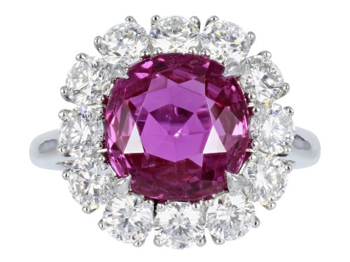 5.16ct Cushion Cut Pink Sapphire & Diamond Ring