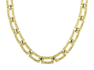 Italian 18kt Engraved Link Collar Necklace