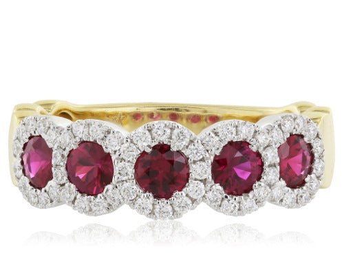 18 karat white and yellow gold diamond and rubies ring, consisting of 5 rubies in a row weighing 0.82 carats total weight surrounded by round brilliant cut diamonds 0.31 carats total weight.