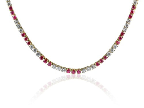 Ruby & Diamond Tennis Necklace