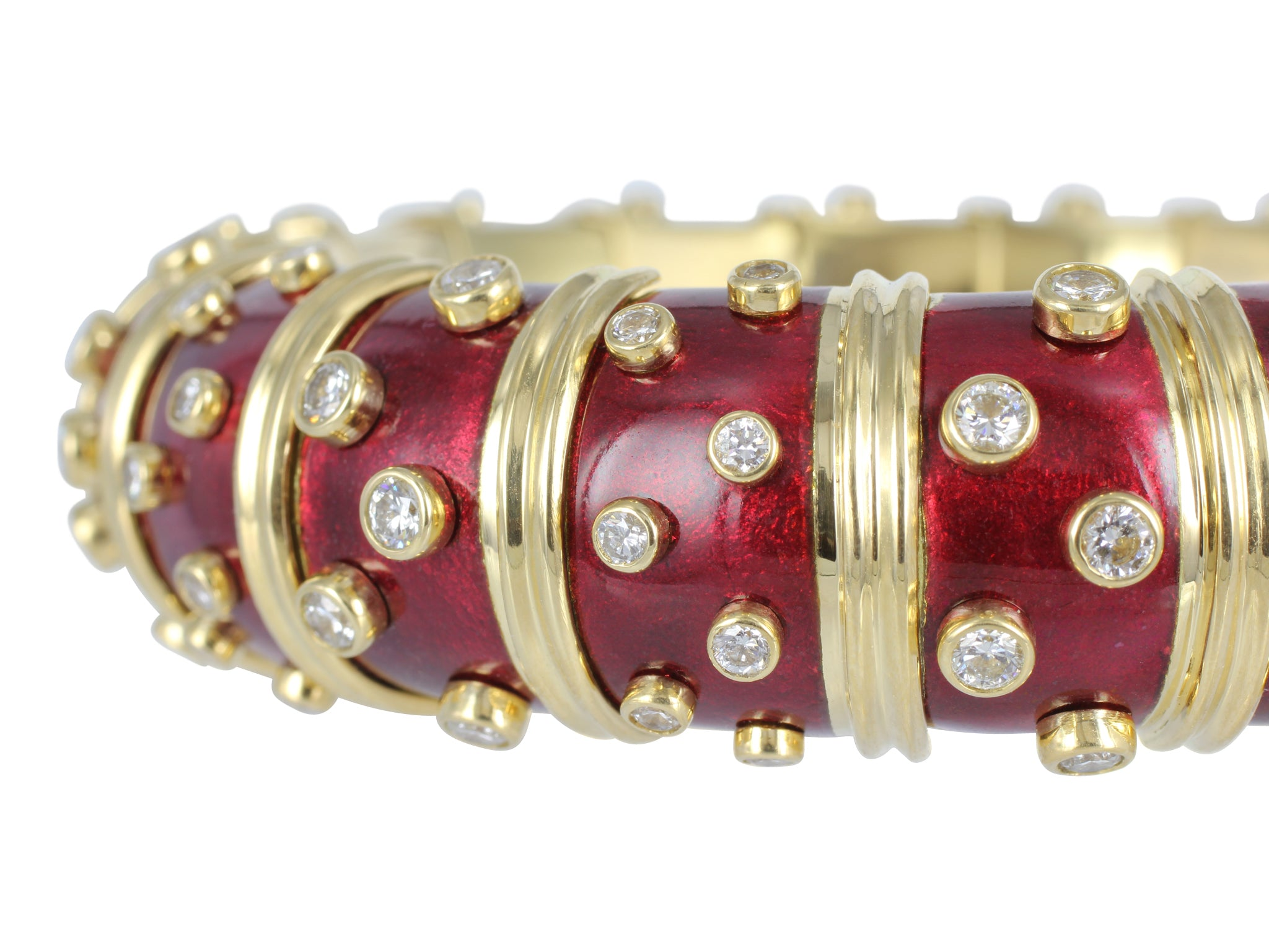 d7c1e913d Schlumberger Red Enamel Bangle with Bezel Set Diamonds – David & Company