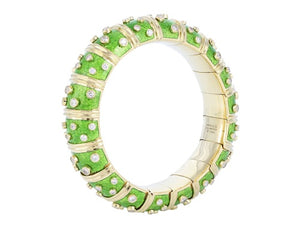 Light Green Paillonne Enamel  & Diamond Schlumberger Bracelet