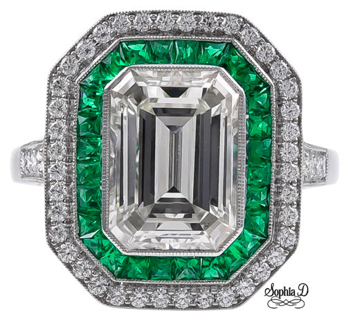 1.40ct Diamond Emerald Ring