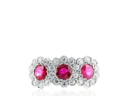 Ruby & Diamond 3 Stone Ring