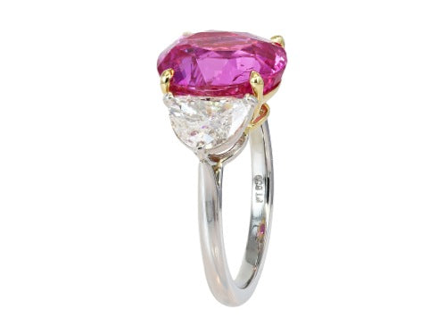 6.70ct Oval Shaped Pink Sapphire & Diamond Ring