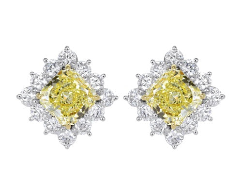 5.02 Carat Fancy Yellow Canary Earrings