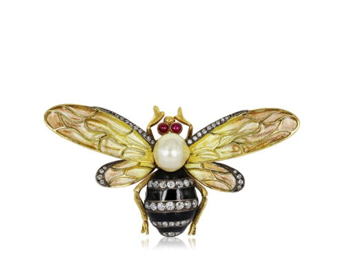 Plique-a-Jour Bumble Diamond & Pearl Bumble Bee Pin
