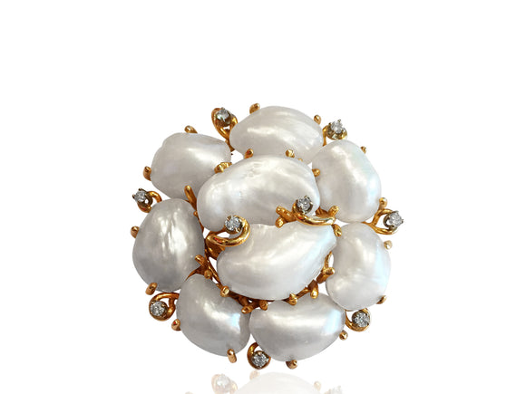 Pearl and Diamond Brooch/Pendant
