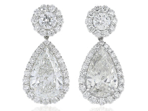 18 Karat Pear Shape Diamond 2@ 2.12 ct GIA G VVS2 drop earrings