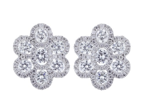 2.08 Carat Diamond Cluster Earrings