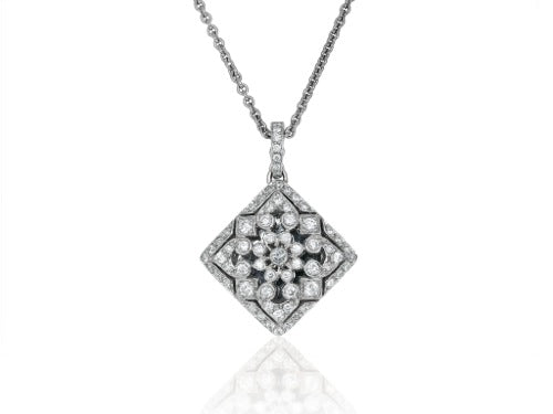 18 kt 1.33ct Diamond Filigree Locket Pendant