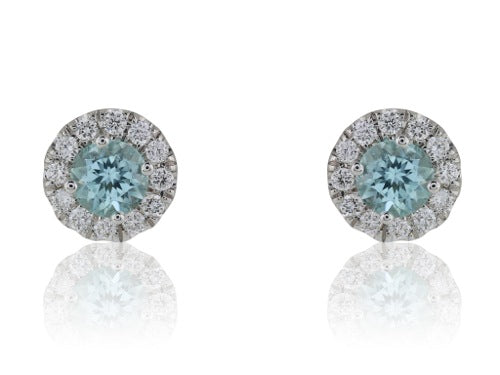 .50 Paraiba Diamond Cluster earrings