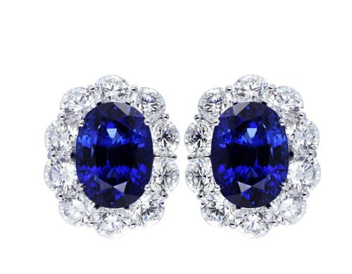 17.93ct Sapphire & Diamond Earrings