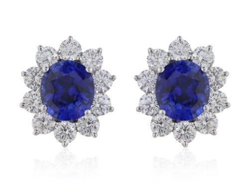 8.21 Carat Sapphire and 3.81 Carat Diamond Earrings