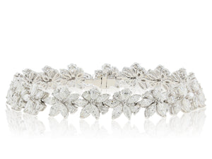 10.59 Carat Floral Diamond Bracelet (18k White Gold)