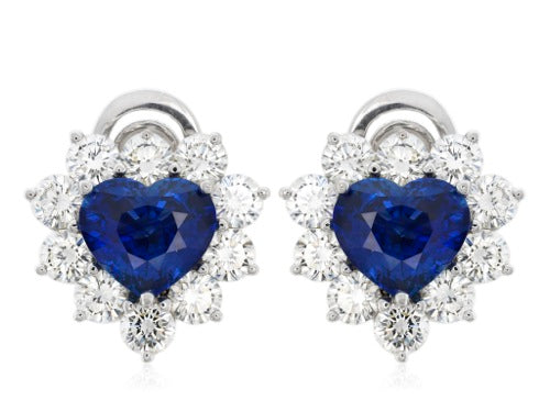 Heart Shape Sapphire and diamond clsuter earrings