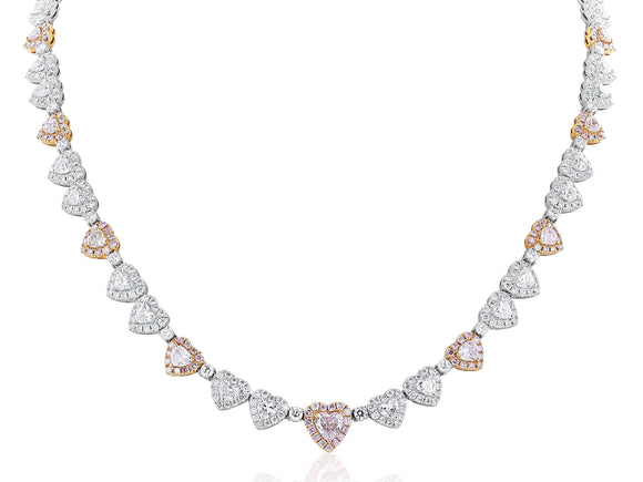 Pink and White Diamond Heart Shape Necklace
