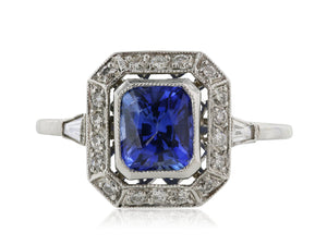 1.30 Carat Antique Inspired Sapphire and .50 Carat Diamond Ring