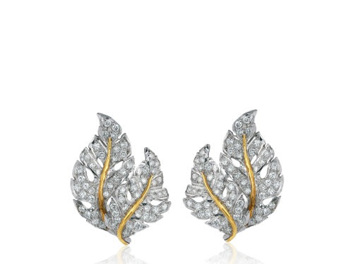 Buccellati Diamond Leaf Earrings