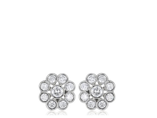 1.10ct Round Diamond Cluster Earrings