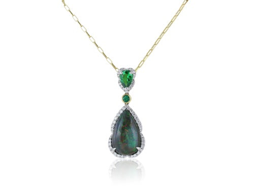 18 kt Black Opal 6.04 ct Tsavorite, and Emerald pendant.