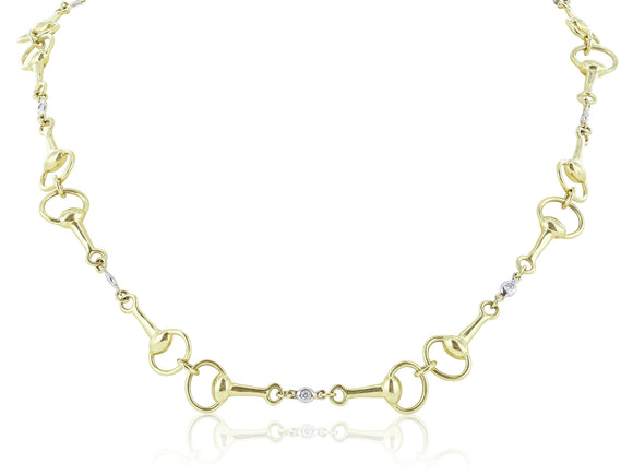 .34 Ct. Horse Bit and Diamond Toggle Necklace