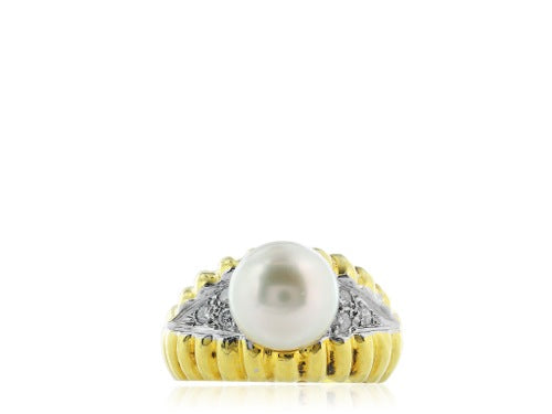 10MM Pearl Ring with Diamond Accents