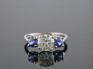 1.21ct Round Brilliant Cut Diamond & Sapphire 3 Stone Ring