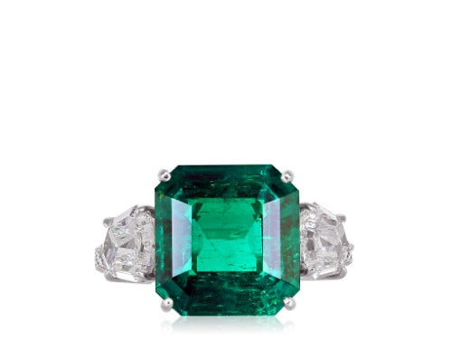 5.48ct Colombian Emerald & Diamond Ring