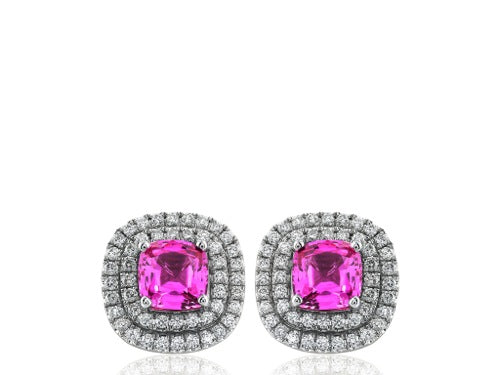 3.10ct Pink Sapphire & Diamond Earrings