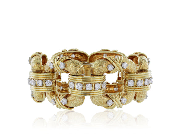 18 karat yellow gold and platinum wide fancy square shape gold bracelet, featuring an